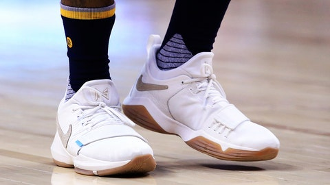 TORONTO, ON - MARCH 31:  The shoes worn by Paul George #13 of the Indiana Pacers during the first half of an NBA game against the Toronto Raptors at Air Canada Centre on March 31, 2017 in Toronto, Canada.  NOTE TO USER: User expressly acknowledges and agrees that, by downloading and or using this photograph, User is consenting to the terms and conditions of the Getty Images License Agreement.  (Photo by Vaughn Ridley/Getty Images)