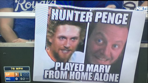 San Francisco Giants OF Hunter Pence and Marv (Daniel Stern) from 'Home Alone'