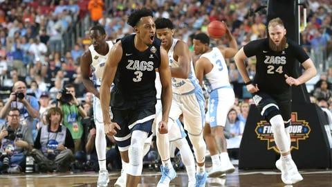 Jonathan Williams celebrates a Gonzaga basket.