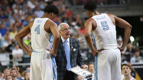 Roy Williams with instructions for Isaiah Hicks and Tony Bradley.