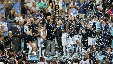 North Carolina is presented the championship trophy.