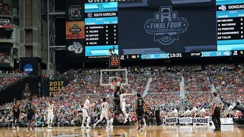 South Carolina's Chris Silva soars to the basket.