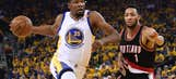 Warriors win Game 1 as Durant shines in debut