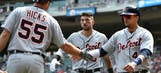 Hicks, Fulmer and Tigers rout slumping Twins 13-4
