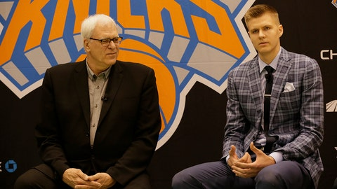 TARRYTOWN, NY - JUNE 26: Kristaps Porzingis, first round Draft pick of the New York Knicks speaks to the media at the Madison Square Garden Training Facility on June 26, 2015 in Tarrytown, New York. NOTE TO USER: User expressly acknowledges and agrees that, by downloading and or using this photograph, User is consenting to the terms and conditions of the Getty Images License Agreement. Mandatory Copyright Notice: Copyright 2015 NBAE (Photo by Steven Freeman/NBAE via Getty Images)