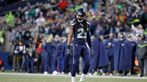 Seattle Seahawks defensive back Richard Sherman (25) waits for the snap during an NFC Wild Card game against the Detroit Lions on Saturday, Jan. 7, 2017, in Seattle, Wash. The Seahawks won the game, 26-6. (Greg Trott via AP)