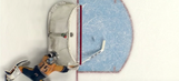 Pekka Rinne made an outstanding diving save after the puck took a crazy bounce