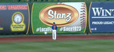 Minor league outfielder repeatedly fails to throw beach ball over outfield fence