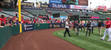 Mike Trout is the the latest player to play catch with a fan in the stands