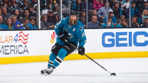 SAN JOSE, CA - APRIL 16: Joe Thornton #19 of the San Jose Sharks skates with the puck against the Edmonton Oilers in Game Three of the Western Conference First Round during the 2017 NHL Stanley Cup Playoffs at SAP Center on April 16, 2017 in San Jose, California. (Photo by Rocky W. Widner/NHL/Getty Images)