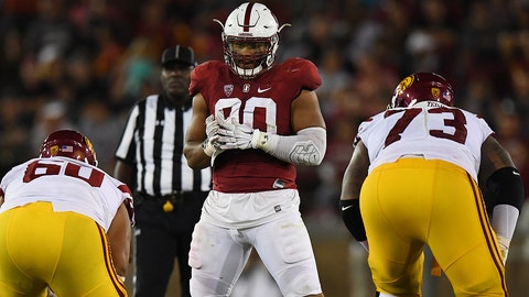 Stanford DL Solomon Thomas (90) awaits snap. NCAA College Football: USC Trojans v Stanford Cardinal game action Stanford Stadium/Palo Alto, CA, USA SI-556 TK1 CREDIT: John W. McDonough