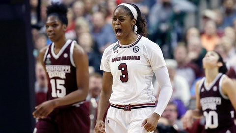 South Carolina guard Kaela Davis (3) celebrates a play during the second half against Mississippi State  in the final of NCAA women's Final Four college basketball tournament, Sunday, April 2, 2017, in Dallas. (AP Photo/LM Otero)