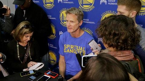 Golden State Warriors head coach Steve Kerr, center, speaks during NBA basketball practice in Oakland, Calif., Friday, April 7, 2017. (AP Photo/Jeff Chiu)