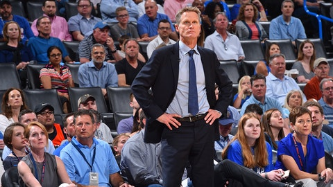 OKLAHOMA CITY, OK - MARCH 20: Head Coach Steve Kerr of the Golden State Warriors looks on against the Oklahoma City Thunder during the game on March 20, 2017 at Chesapeake Energy Arena in Oklahoma City, Oklahoma. NOTE TO USER: User expressly acknowledges and agrees that, by downloading and or using this photograph, User is consenting to the terms and conditions of the Getty Images License Agreement. Mandatory Copyright Notice: Copyright 2017 NBAE (Photo by Jesse D. Garrabrant/NBAE via Getty Images)