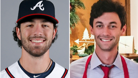 Atlanta Braves SS Dansby Swanson and politician Jon Ossoff, candidate for Georgia's 6th congressional district