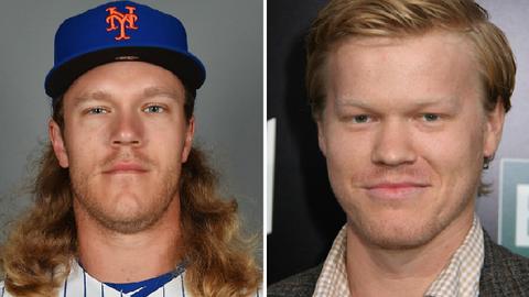 New York Mets SP Noah Syndergaard and actor Jesse Plemons