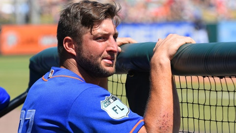 LAKELAND, FL - MARCH 20:  Tim Tebow #97 of the New York Mets looks on from the dugout during the Spring Training game against the Detroit Tigers at Publix Field at Joker Marchant Stadium on March 20, 2017 in Lakeland, Florida. The Tigers defeated the Mets 5-1.  (Photo by Mark Cunningham/MLB Photos via Getty Images)