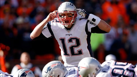 DENVER, CO - JANUARY 24: Tom Brady #12 of the New England Patriots gestures at the line of scrimmage in the first quarter against the Denver Broncos in the AFC Championship game at Sports Authority Field at Mile High on January 24, 2016 in Denver, Colorado.  (Photo by Ezra Shaw/Getty Images)