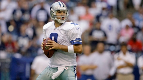 Dallas Cowboys quarterback Tony Romo looks to pass during an NFL pre-season football game against the Houston Texans, Friday, Aug. 22, 2008, in Irving, Texas. (AP Photo/Matt Slocum)