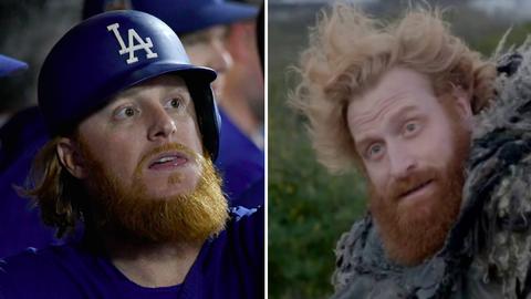 Los Angeles Dodgers 3B Justin Turner and Tormund (Kristofer Hivju) of 'Game of Thrones'
