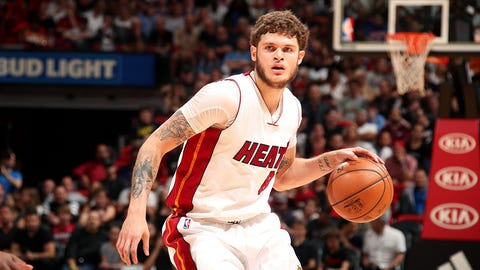 MIAMI, FL - MARCH 31: Tyler Johnson #8 of the Miami Heat handles the ball during the game against the New York Knicks on March 31, 2017 at AmericanAirlines Arena in Miami, Florida. NOTE TO USER: User expressly acknowledges and agrees that, by downloading and or using this Photograph, user is consenting to the terms and conditions of the Getty Images License Agreement. Mandatory Copyright Notice: Copyright 2017 NBAE (Photo by Issac Baldizon/NBAE via Getty Images)