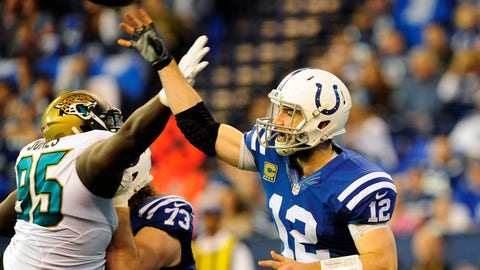 The Colts' defense puts an enormous amount of pressure on Luck