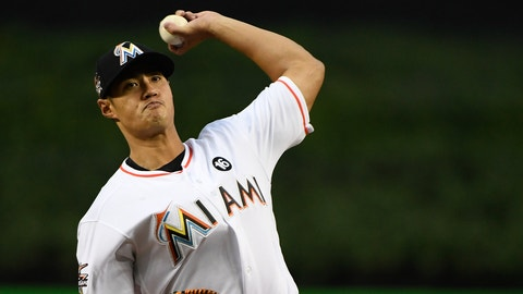 MIAMI, FL - APRIL 13: Wei-Yin Chen #54 of the Miami Marlins in action during the game against the New York Mets at Marlins Park on April 13, 2017 in Miami, Florida. (Photo by B51-MarkABrown/Getty Images)