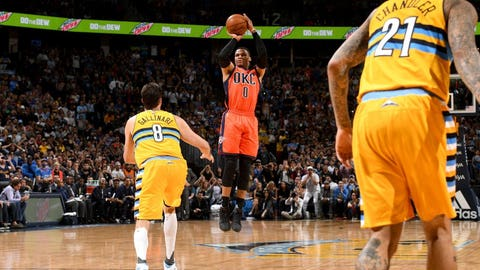 Russell Westbrook: 50 at Nuggets (4/9/17)