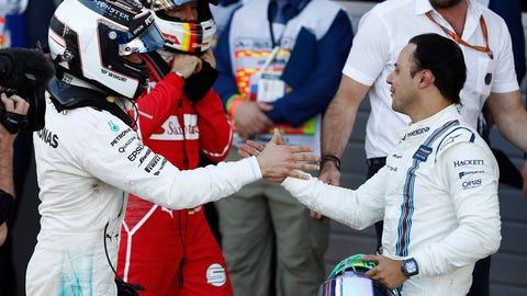 Felipe Massa congratulates Valtteri Bottas on his maiden F1 win. (Photo: Glenn Dunbar/LAT Images)
