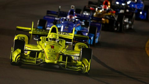 Simon Pagenaud dominated the second half of Saturday night's IndyCar race at Phoenix and there wasn't a whole lot of passing behind him. (Photo: Phillip Abbott/LAT Images)
