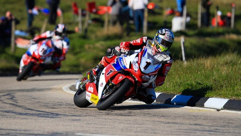 John McGuinness seen competing during the 2016 Isle of Man TT. (Photo by Linden Adams/Getty Images)