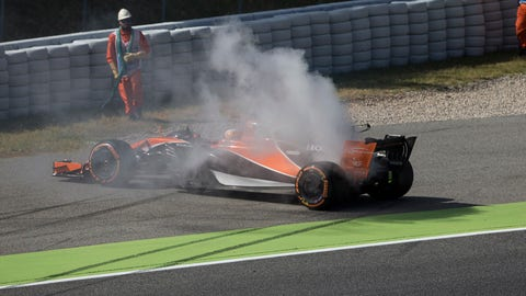 Fernando Alonso brings his McLaren-Honda to a stop on his first lap of the weekend during practice for the Spanish GP. (Photo: Dom Romney/LAT Images)
