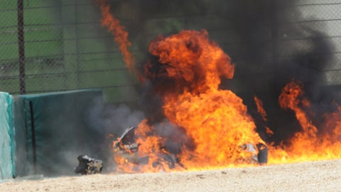 Eugene Laverty's Aprilia explodes into a fireball. (Photo: Gold and Goose Photography/LAT Images)