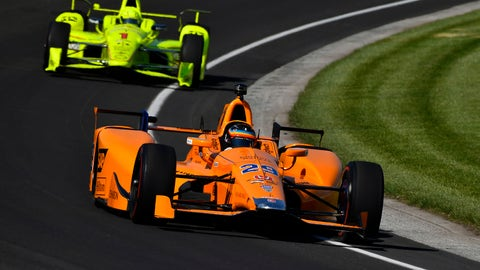 Fernando Alonso seen on track during Monday's opening day of practice for the Indianapolis 500. (Photo: LAT Images)