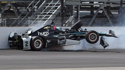 Josef Newgarden took the hardest hit of the week when he spun in Turn 1 on Thursday. (AP Photo/Kirk DeBrunner)