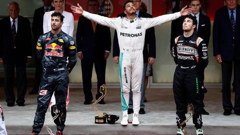 "The drivers seen on the 2016 ""podium"" following the Monaco GP. (Photo: Glenn Dunbar/LAT Photographic)"
