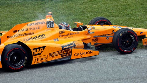 Fernando Alonso broke down with 21 laps to go at the Indianapolis 500. (Photo: Brian Spurlock/USA TODAY Sports)