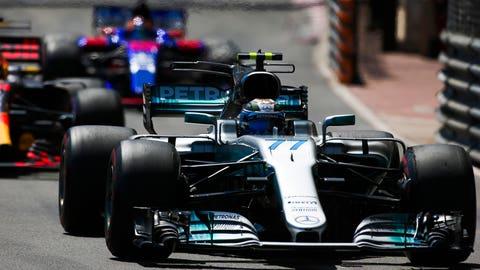 Valtteri Bottas finished fourth at the Monaco GP and Lewis Hamilton finished seventh. (Photo: Charles Coates/LAT Images)