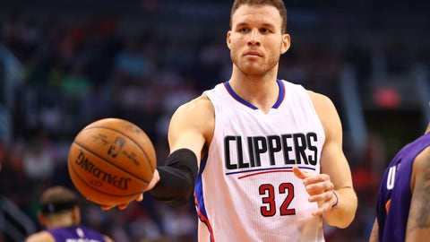 Mar 30, 2017; Phoenix, AZ, USA; Los Angeles Clippers forward Blake Griffin (32) against the Phoenix Suns at Talking Stick Resort Arena. The Clippers defeated the Suns 124-118. Mandatory Credit: Mark J. Rebilas-USA TODAY Sports