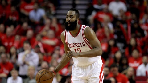 Apr 19, 2017; Houston, TX, USA; Houston Rockets guard James Harden (13) handles the ball during the third quarter against the Oklahoma City Thunder in game two of the first round of the 2017 NBA Playoffs at Toyota Center. Mandatory Credit: Erik Williams-USA TODAY Sports