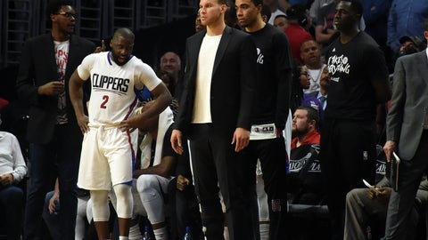April 25, 2017; Los Angeles, CA, USA; Los Angeles Clippers forward Blake Griffin (32) reacts while watching game action against the Utah Jazz during the second half in game five of the first round of the 2017 NBA Playoffs at Staples Center. Mandatory Credit: Richard Mackson-USA TODAY Sports