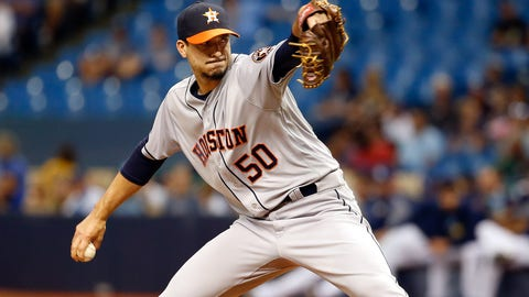 Apr 22, 2017; St. Petersburg, FL, USA; Houston Astros starting pitcher Charlie Morton (50) throws a pitch during the second inning against the Tampa Bay Rays at Tropicana Field. Mandatory Credit: Kim Klement-USA TODAY Sports
