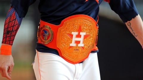 May 3, 2017; Houston, TX, USA; A closeup shot of a custom-made wrestling championship belt made for Houston Astros left fielder Josh Reddick (22) prior to the game against the Texas Rangers at Minute Maid Park. Mandatory Credit: Erik Williams-USA TODAY Sports