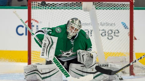 Feb 28, 2017; Dallas, TX, USA; Dallas Stars goalie Antti Niemi (31) in action during the game against the Pittsburgh Penguins at the American Airlines Center. The Stars defeat the Penguins 3-2. Mandatory Credit: Jerome Miron-USA TODAY Sports