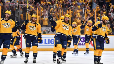 May 2, 2017; Nashville, TN, USA; Nashville Predators players celebrate after a win against the St. Louis Blues in game four of the second round of the 2017 Stanley Cup Playoffs at Bridgestone Arena. Mandatory Credit: Christopher Hanewinckel-USA TODAY Sports
