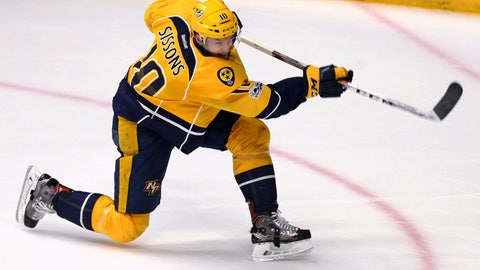 May 22, 2017; Nashville, TN, USA; Nashville Predators center Colton Sissons (10) scores his hat-trick goal on a shot against the Anaheim Ducks in the third period in game six of the Western Conference Final of the 2017 Stanley Cup Playoffs at Bridgestone Arena. Mandatory Credit: Aaron Doster-USA TODAY Sports