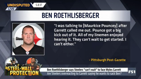 Ben Roethlisberger reacts to Myles Garrett's warning