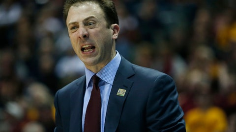 Minnesota head coach Richard Pitino reacts during the first half of an NCAA college basketball tournament first round game against Middle Tennessee State Thursday, March 16, 2017, in Milwaukee. (AP Photo/Kiichiro Sato)