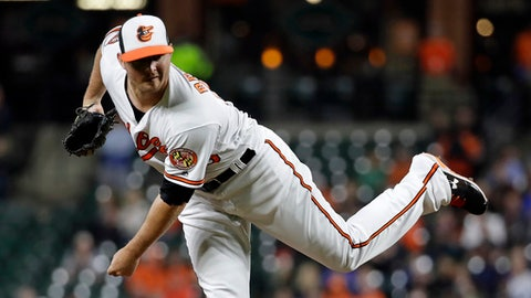 Baltimore Orioles reliever Zach Britton follows through on a pitch to the Toronto Blue Jays during the ninth inning of a baseball game in Baltimore, Wednesday, April 5, 2017. Baltimore won 3-1. (AP Photo/Patrick Semansky)