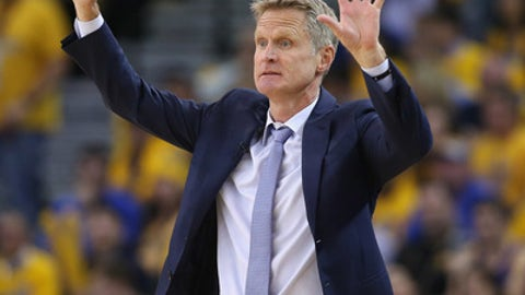 OAKLAND, CA - APRIL 19:  Head coach Steve Kerr of the Golden State Warriors motions to his team during their game against the Portland Trail Blazers in Game Two of the Western Conference Quarterfinals during the 2017 NBA Playoffs at ORACLE Arena on April 19, 2017 in Oakland, California. NOTE TO USER: User expressly acknowledges and agrees that, by downloading and or using this photograph, User is consenting to the terms and conditions of the Getty Images License Agreement.  (Photo by Ezra Shaw/Getty Images)